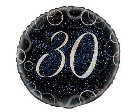 30. évszámos fólia lufi, prizmás, kék (45 cm)-55808