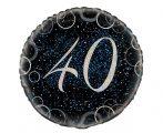 40. évszámos fólia lufi, prizmás, kék (45 cm)-55809