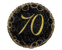 70. évszámos fólia lufi, prizmás, arany(45 cm)-55838