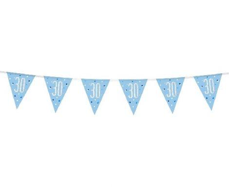 30. évszámos prizmás zászlógirland, kék (274 cm) - 83439