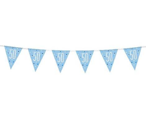 50. évszámos prizmás zászlógirland, kék (274 cm) - 83441