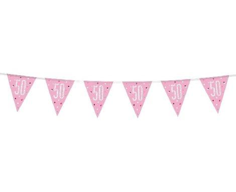 50. évszámos prizmás zászlógirland, rózsaszín (274 cm) - 83454