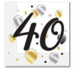 40. évszámos szalvéta arany-fekete-fehér (20 db)