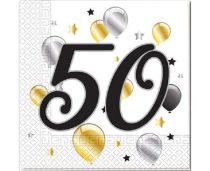 50. évszámos szalvéta arany-fekete-fehér (20 db)