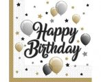 Happy Birthday szalvéta arany-fekete-fehér ( 20 db)