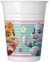 Mancs őrjárat műanyag party pohár (8 db), rózsaszín