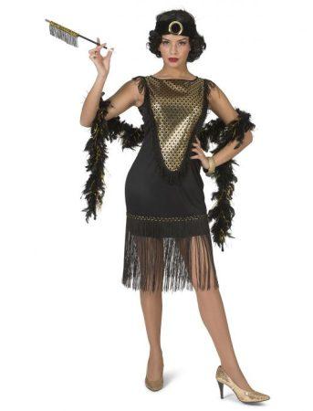 Charleston női jelmez, arany-fekete (36-38 méretben)