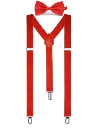 piros csokornyakkendő + nadrágtartó- E-80286