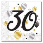 30. évszámos szalvéta arany-fekete-fehér (20 db)