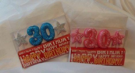évszámos, csillámos születésnapi gyertya 30. (rózsaszín színben)