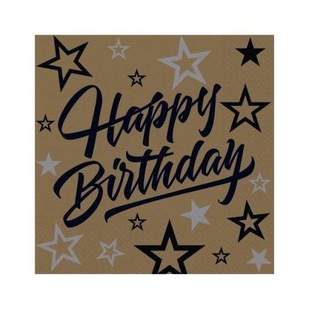Happy Birthday arany-fekete műanyag terítő (120*180 cm)