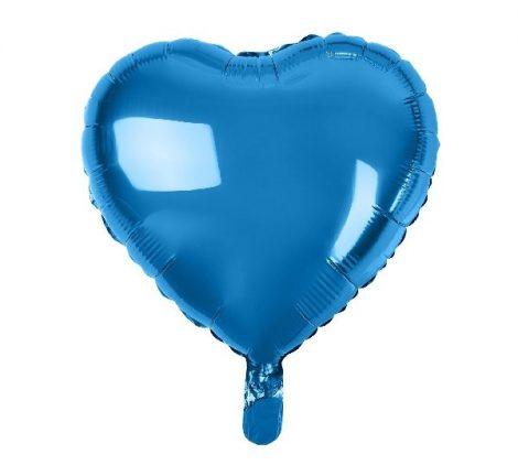 Szív alakú, kék fólia lufi