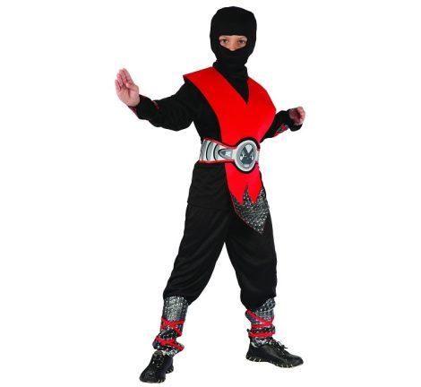 Ninja farsangi jelmez, piros tőbb méretben 18583
