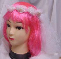 Lánybúcsús hajpánt fátyollal (fehér