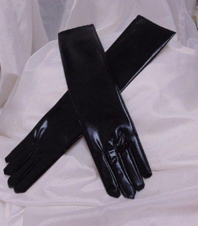 fekete, bőrhatású, hosszú kesztyű