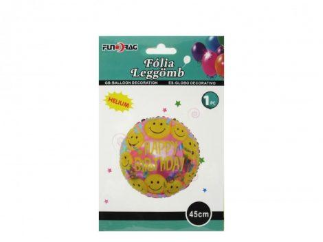 Happy Birthday fólia lufi smiley (45 cm)-610157