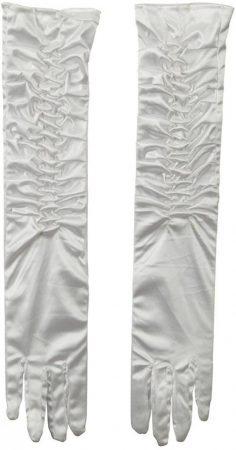 fehér szatén kesztyű húzott ujjal (45 cm)