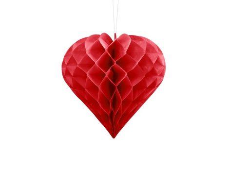 papír szív függődísz, piros (30 cm)