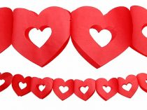 papír szív girland piros(13 cm * 3 m)