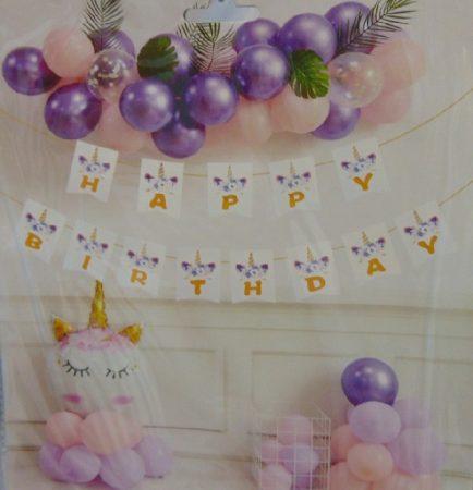 Happy Birthday óriás felirat Unicornis mintával (2 m)