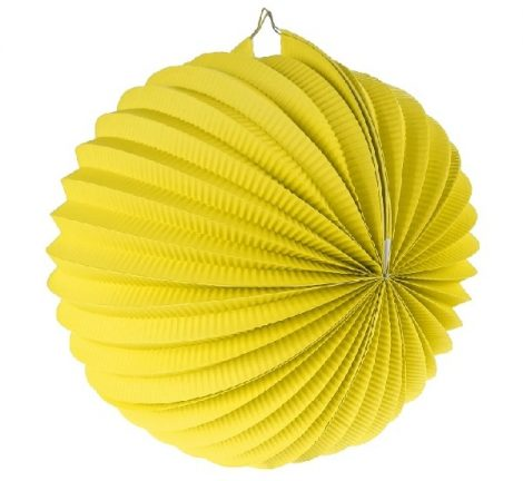 papír gömb lampion 25 cm, sárga-PF-LDKZO25