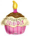 Happy birthday fólia lufi rózsaszín muffinos (45 cm