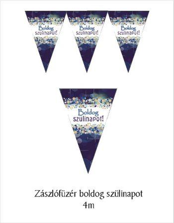 Boldog születésnapot zászlógirland, kék (8 db zászló+4 m szalag)
