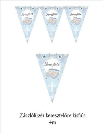Zászlógirland keresztelőre, kék (8 db zászló+4 m szalag)