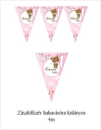 Zászlógirland babaváró bulira, rózsaszín (8 db zászló+4 m szalag)