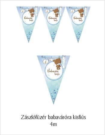 Zászlógirland babaváró bulira, kék (8 db zászló+4 m szalag)