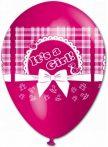 baba születéses gumi lufi rózsaszín , 30 cm-s (10 db)