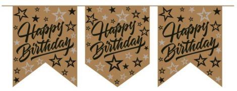 Happy Birthday felirat, arany csillagos (20 cm x 2,5 m)