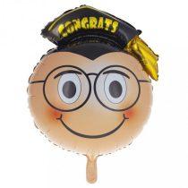 ballagási fólia lufi, kalapos-szemüveges (45 cm)