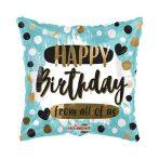 Happy Birthday fólia lufi szögletes , kék (45 cm)
