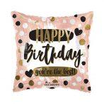 Happy Birthday fólia lufi szögletes , rózsaszín(45 cm)
