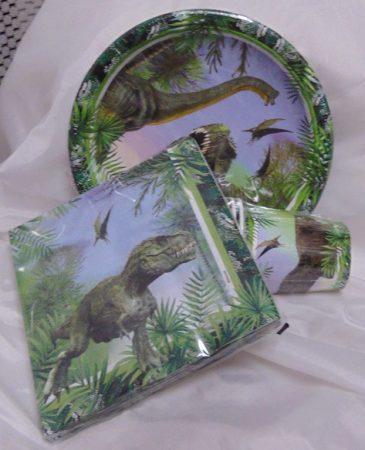 Dínós papír tányér, 23 cm (8 db)